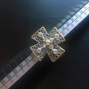 Silver and Gold Cross Ring Size 8.5